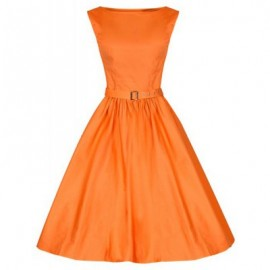 Vintage Boat Neck Solid Color Sleeveless Dress For Women