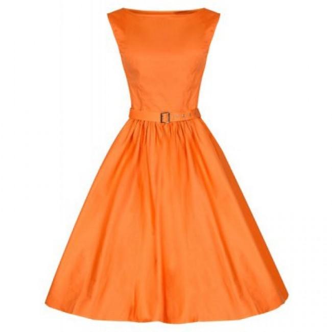 Vintage Boat Neck Solid Color Sleeveless Dress For Women