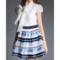 Vintage Bow Tie Collar Short Sleeve Striped Spliced Women's Dress