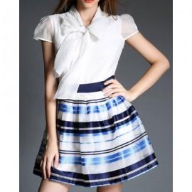 Vintage Bow Tie Collar Short Sleeve Striped Spliced Women's Dress