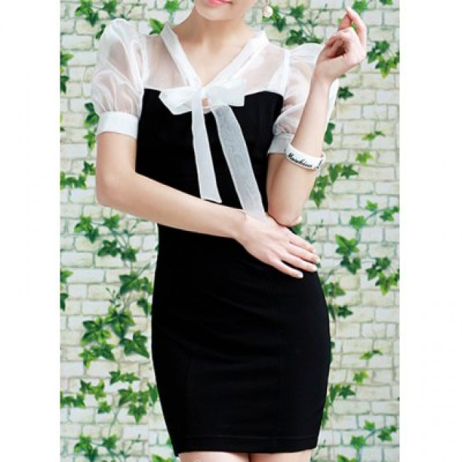 Vintage Bow Tie Collar Short Sleeves Color Splicing Dress For Women
