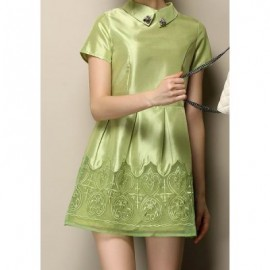 Vintage Flat Collar Short Sleeves Voile Splicing Embroidered Beaded Dress For Women