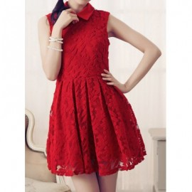 Vintage Flat Collar Sleeveless Solid Color Lace Dress For Women