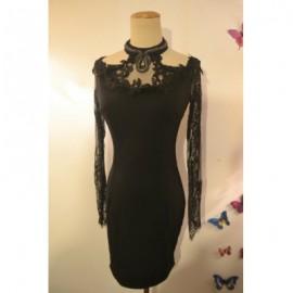 Vintage Halter Neck Lace Splicing Black Dress For Women