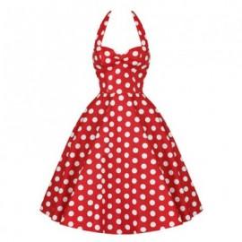 Vintage Halterneck Backless Red And White Polka Dot Print Ruffled Sleeveless Women's Dress