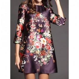 Vintage Jewel Neck 3/4 Length Sleeves Floral Printed Dress For Women