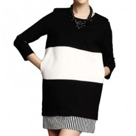 Vintage Jewel Neck 3/4 Sleeves Color Block Striped Splicing Dress For Women