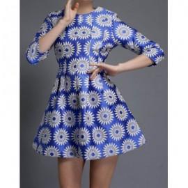 Vintage Jewel Neck 3/4 Sleeves Floral Print A-Line Dress For Women