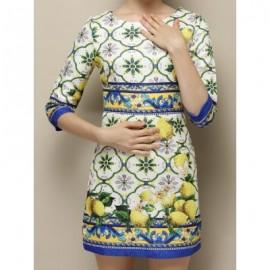 Vintage Jewel Neck 3/4 Sleeves Jacquard Print Dress For Women