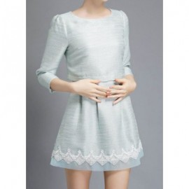 Vintage Jewel Neck 3/4 Sleeves Lace Splicing Dress For Women