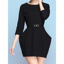 Vintage Jewel Neck 3/4 Sleeves Solid Color Pocket Dress For Women
