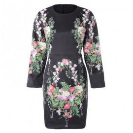 Vintage Jewel Neck Floral Print Long Sleeve Women's Dress