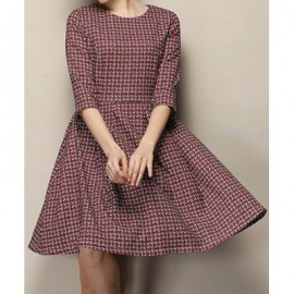 Vintage Jewel Neck Half Sleeves Print Dress For Women