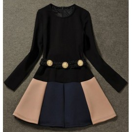 Vintage Jewel Neck Long Sleeves Color Splicing Sashes Dress For Women