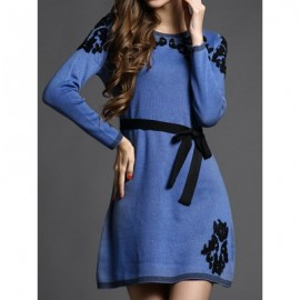 Vintage Jewel Neck Long Sleeves Embroidered Sweater Dress For Women