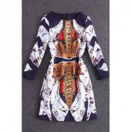 Vintage Jewel Neck Long Sleeves Printed Dress For Women
