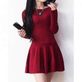 Vintage Jewel Neck Long Sleeves Solid Color Sweater Dress For Women