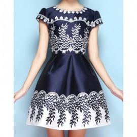 Vintage Jewel Neck Print Short Sleeves Dress For Women