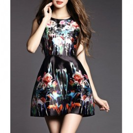 Vintage Jewel Neck Printed Sleeveless A-Line Dress For Women