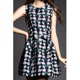 Vintage Jewel Neck Printed Sleeveless Bowknot Dress For Women