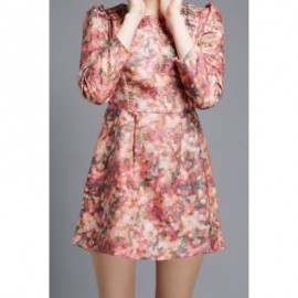 Vintage Jewel Neck Puff Sleeves Abstract Print Dress For Women