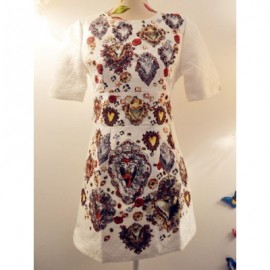 Vintage Jewel Neck Short Sleeves Jacquard Beaded Dress For Women