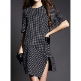 Vintage Jewel Neck Short Sleeves Polka Dot Belt Slit Asymmetric Dress For Women