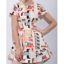 Vintage Jewel Neck Short Sleeves Print Dress For Women