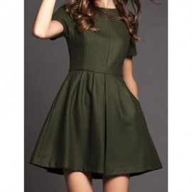 Vintage Jewel Neck Short Sleeves Solid Color Dress For Women