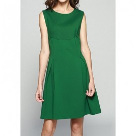Vintage Jewel Neck Sleeveless A-Line Solid Color Dress For Women