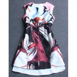 Vintage Jewel Neck Sleeveless Abstract Print Dress For Women