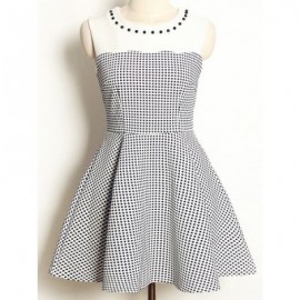 Vintage Jewel Neck Sleeveless Beaded Color Splicing Polka Dot Dress For Women