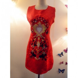 Vintage Jewel Neck Sleeveless Beaded Embroidered Dress For Women