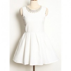 Vintage Jewel Neck Sleeveless Beading Solid Color Dress For Women