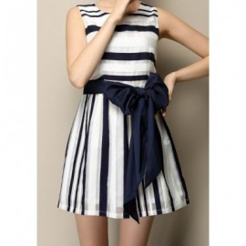 Vintage Jewel Neck Sleeveless Bowknot Striped Dress For Women