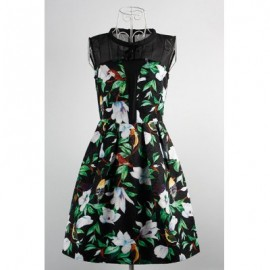 Vintage Jewel Neck Sleeveless Floral Print Bowknot Dress For Women