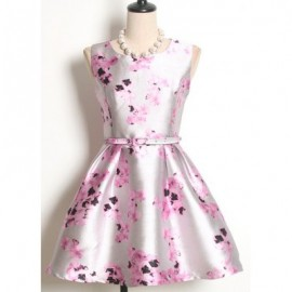 Vintage Jewel Neck Sleeveless Floral Printed Belt Dress For Women