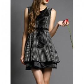 Vintage Jewel Neck Sleeveless Flounce Polka Dot Dress For Women