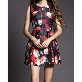 Vintage Jewel Neck Sleeveless Flowers Printed Dress For Women