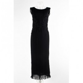 Vintage Jewel Neck Sleeveless Lace Splicing Pleated Long Dress For Women