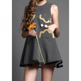 Vintage Jewel Neck Sleeveless Polka Dot Dress For Women