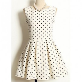 Vintage Jewel Neck Sleeveless Polka Dot Pleated Dress For Women