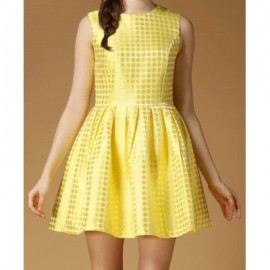 Vintage Jewel Neck Sleeveless Polka Dot Yellow Dress For Women