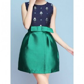 Vintage Jewel Neck Sleeveless Print Dowknot Dress For Women