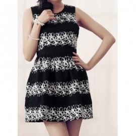 Vintage Jewel Neck Sleeveless Print Dress For Women
