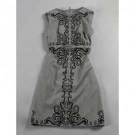 Vintage Jewel Neck Sleeveless Print Hollow Out Dress For Women