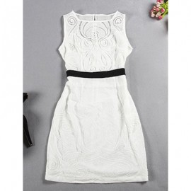 Vintage Jewel Neck Sleeveless Solid Color Hollow Out Dress For Women
