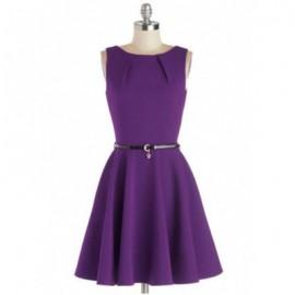 Vintage Jewel Neck Solid Color A-Line Dress For Women