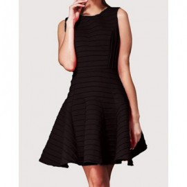 Vintage Jewel Neck Solid Color A-Line Sleeveless Dress For Women