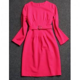 Vintage Jewel Neck Solid Color Long Sleeves Dress For Women